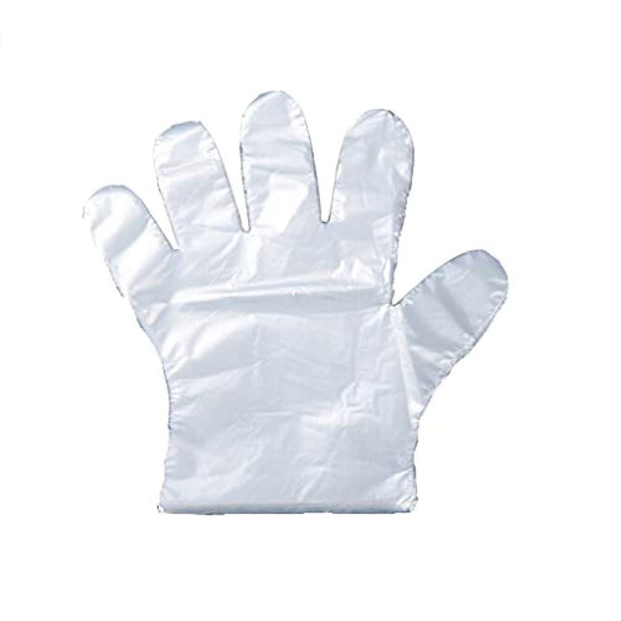 グレー然とした関係ない手袋の使い捨て手袋のフィルム家庭用キッチンの食品は、透明PEプラスチック手袋100パッケージを厚くした (UnitCount : 200)