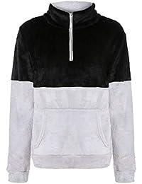maweisong ファズジップカラーステッチ冬冬カジュアルプルオーバースウェットシャツ
