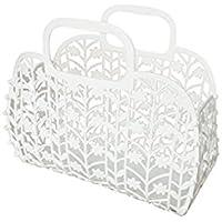 FenBuGu-JP 興味深い 白いプラスチック折りたたみ収納バスケットポータブルバスバスケットキッチン収納バスケット