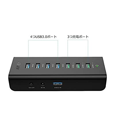 AUKEY USB3.0ハブ 4つUSB3.0ポート+3つAiPower 充電ポート 7ポート セルフパワー CB-H19