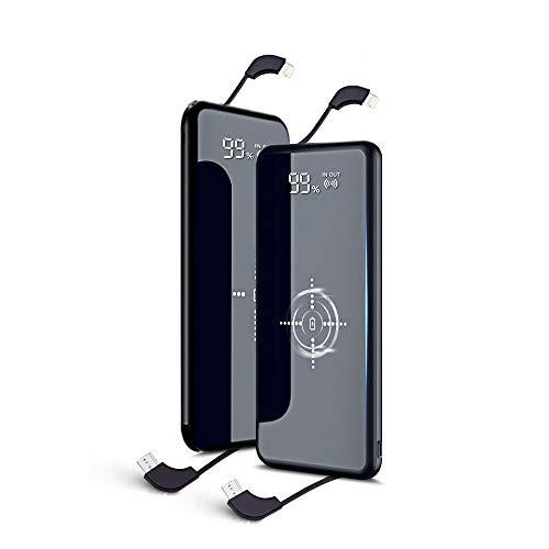 モバイルバッテリー Qi ワイヤレス充電 ケーブル内蔵 LCD残量表示 10000mAh 大容量 無線充電器 軽量 薄型 ライトニング/microUSB/type-Cコネクタ付 USBポート スマホ 充電器 四台同時充電でき コンパクトで持ち運び便利 置くだけ充電iphone/ipad/Android対応 (ブラック)