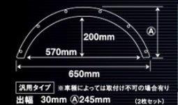 カズクリエイション ABS製 超軽量汎用オーバーフェンダー 出幅30mm+ダミーリベットセット