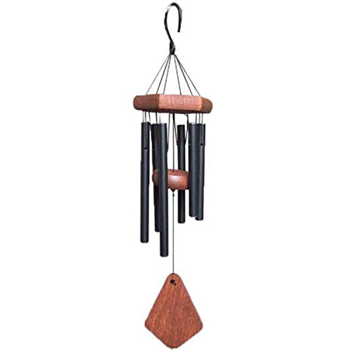 起こりやすい罰安らぎHongyuantongxun 風チャイム、メタル6チューブ風の鐘、ブラック、全身について52CM,、装飾品ペンダント (Color : Black)