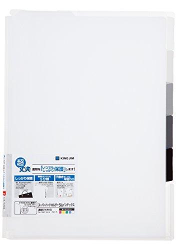 キングジム ホルダー スーパーハードホルダー 5山インデック透明(マチ付) 白 A4 766Tシロ