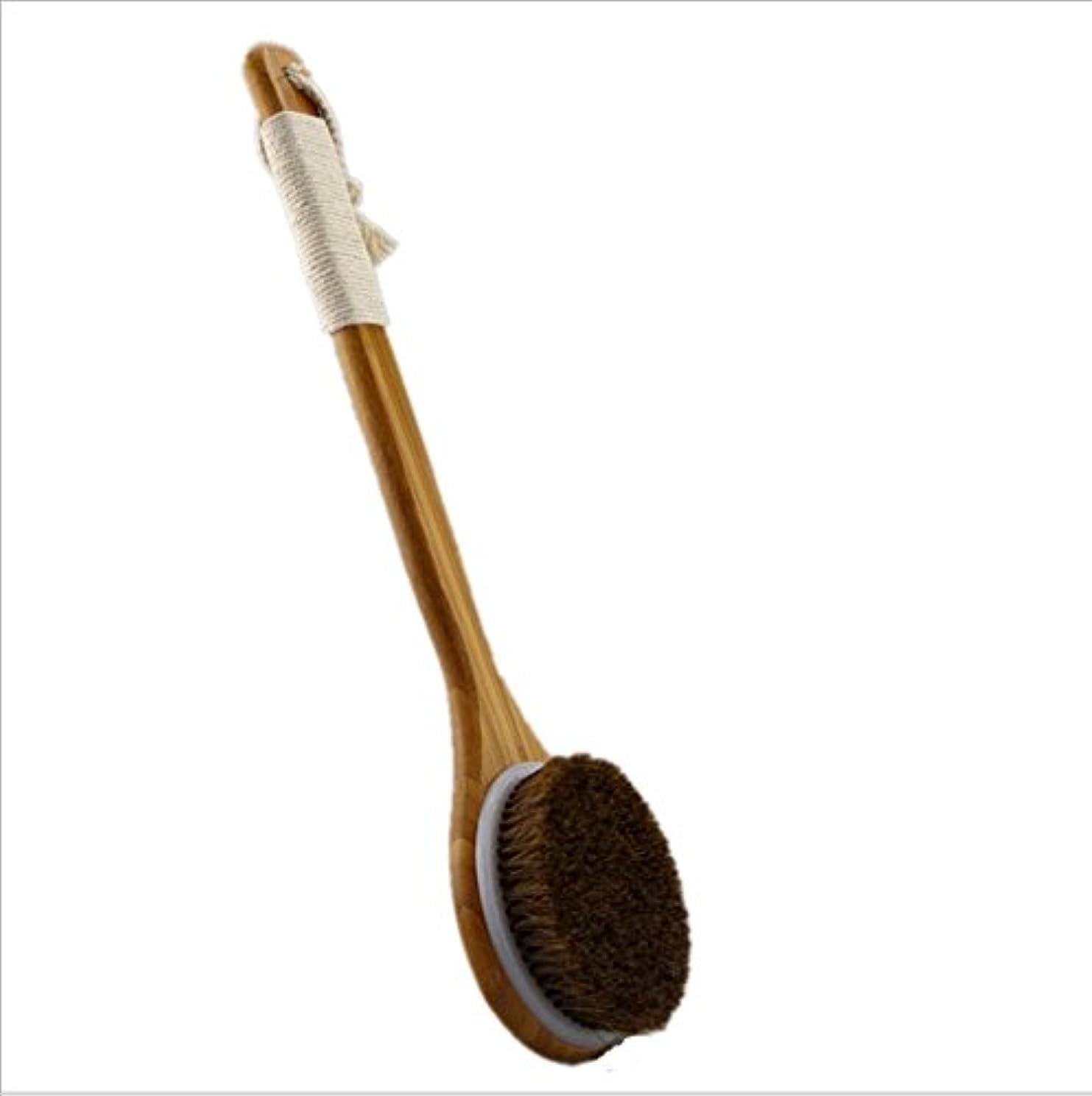 分布対立堂々たるBigmind 100%天然高級な馬毛ボディブラシ あかすり 竹製長柄 体洗い/背中ブラシ お風呂