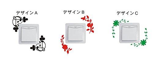 花&ツタ デザインB 赤 カッティングステッカー ウォールステッカー ステッカー シール ドアー