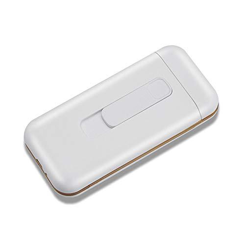 ライター付きシガレットケースタバコボックスポータブル20pcs 100's 100mmスリムタバコUSBライター2 in 1充電式フレームレス防風電気ライター電子ライター USB充電 (White)