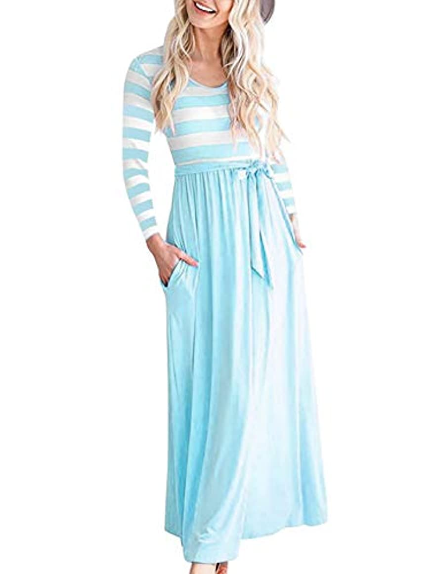 受けるバスタブいらいらさせる女性のドレス 秋コットンルーズファッション長袖印刷ストライプOネックカジュアルドレス