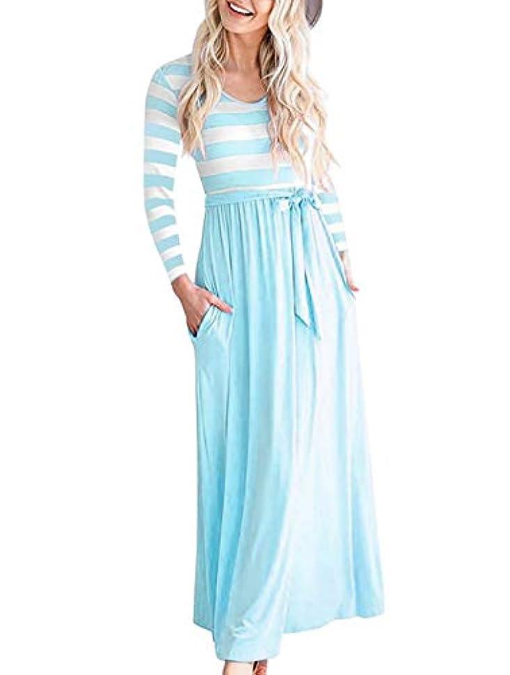 航海日ヘア女性のドレス 秋コットンルーズファッション長袖印刷ストライプOネックカジュアルドレス
