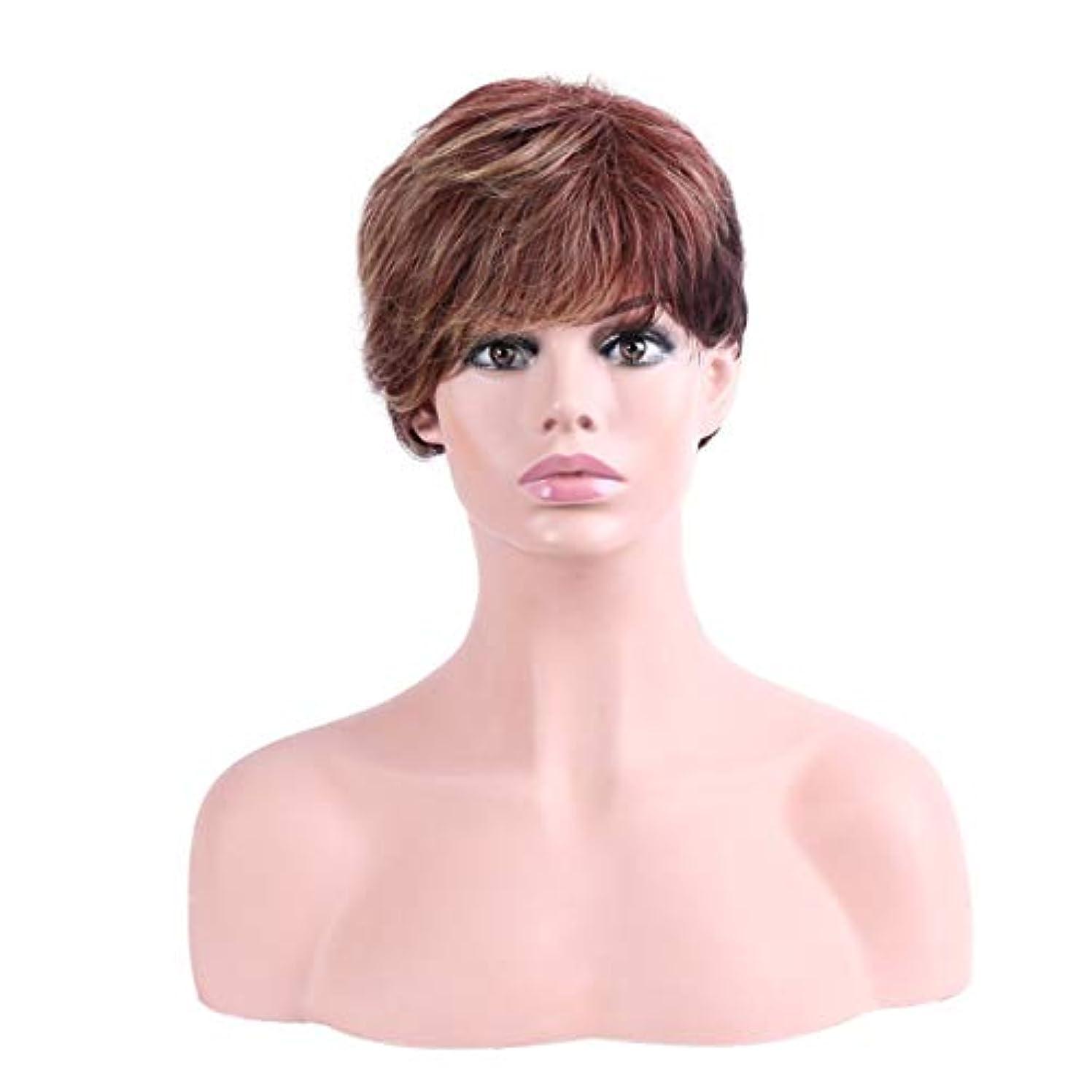 狐畝間マンハッタンYOUQIU 女性の耐熱ウィッグナチュラルヘアウィッグ用オンブル茶ショート傾斜部髪の天然、合成ウィッグ (色 : Ombre Brown)