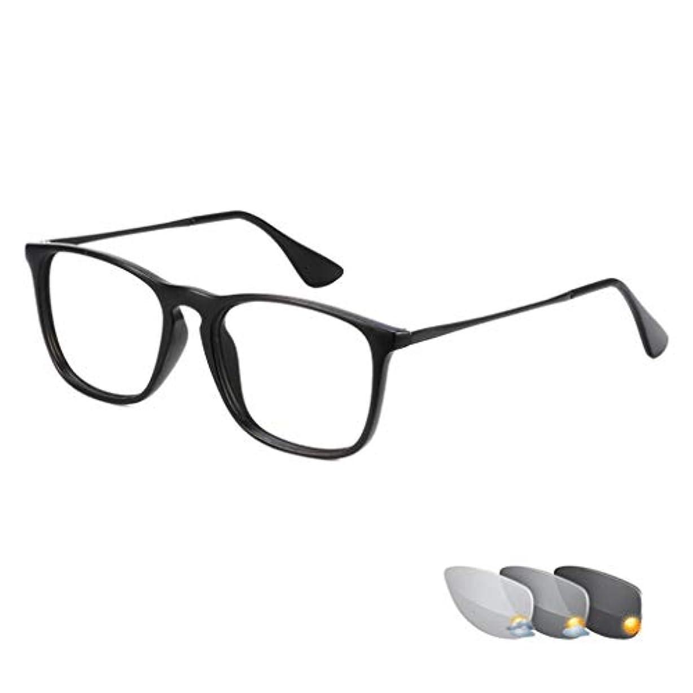 インテリジェント老眼鏡 インテリジェントフォトクロミック老眼鏡、UV保護サングラス、屋内および屋外兼用放射線老眼鏡、HD樹脂レンズ、ユニセックス光学眼鏡
