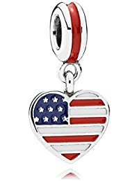 Pandora Charms Sterling Silver Us Heart Flag Silver Dangle With Blue, Red And White Enamel