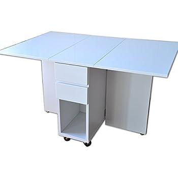 鏡面仕上げ 両バタフライテーブル アウトレット品 伸長式 伸張式 折りたたみテーブル ダイニングテーブル リビングテーブル 北欧風 木製 (ホワイト)