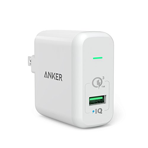 【Quick Charge 3.0対応】 Anker PowerPort+ 1 (Quick Charge 3.0 18W USB急速充電器) Galaxy S6 / Edge / Plus、 Note 5 / 4、LG G4、Nexus 6、iPhone、iPad 他対応(ホワイト)