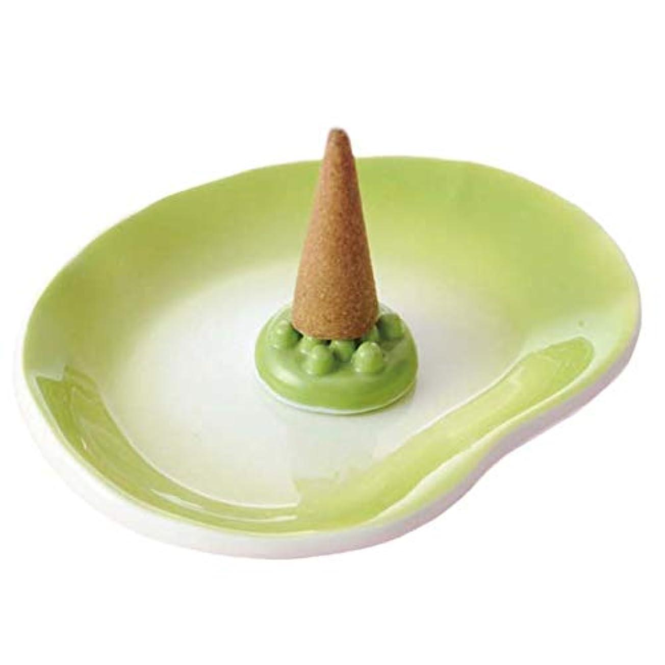 汚い時々時々減らす香皿 香立て/吹き まゆ型香皿 緑(香玉付) /香り アロマ 癒やし リラックス インテリア プレゼント 贈り物