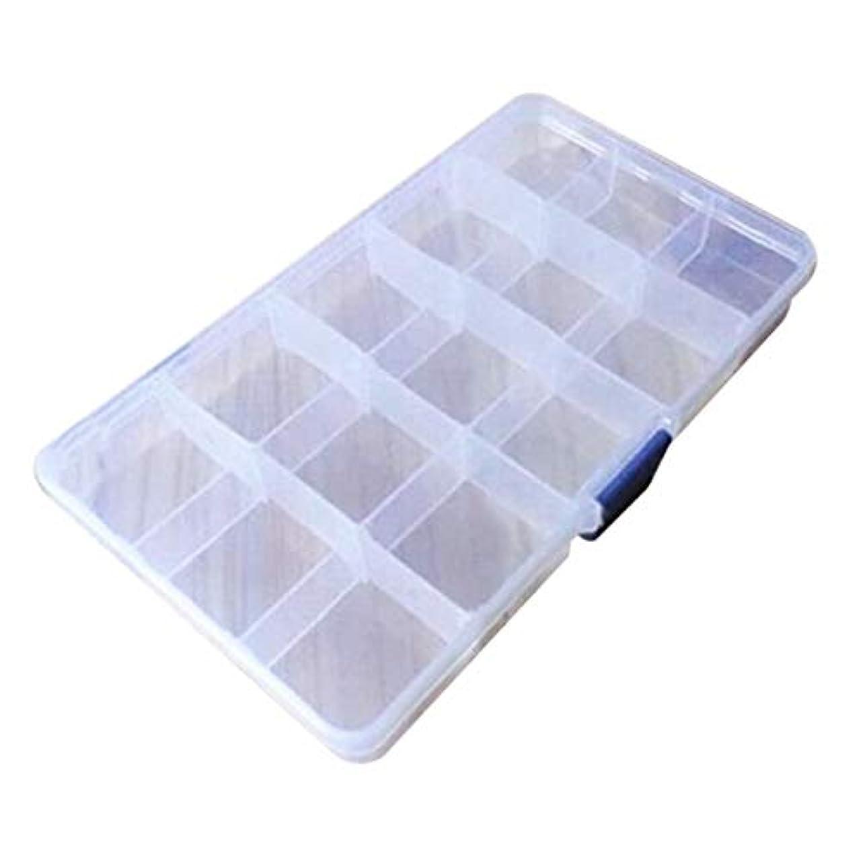 マニュアル叙情的な堤防15グリッドクリエイティブ収納ボックス用貴重品ジュエリー現金クリアプラスチックジュエリーボックスオーガナイザー収納容器(カラー:ブルー)