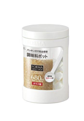 アスベル ガラス調味料ポット 「フォルマ」 ホワイト 1131