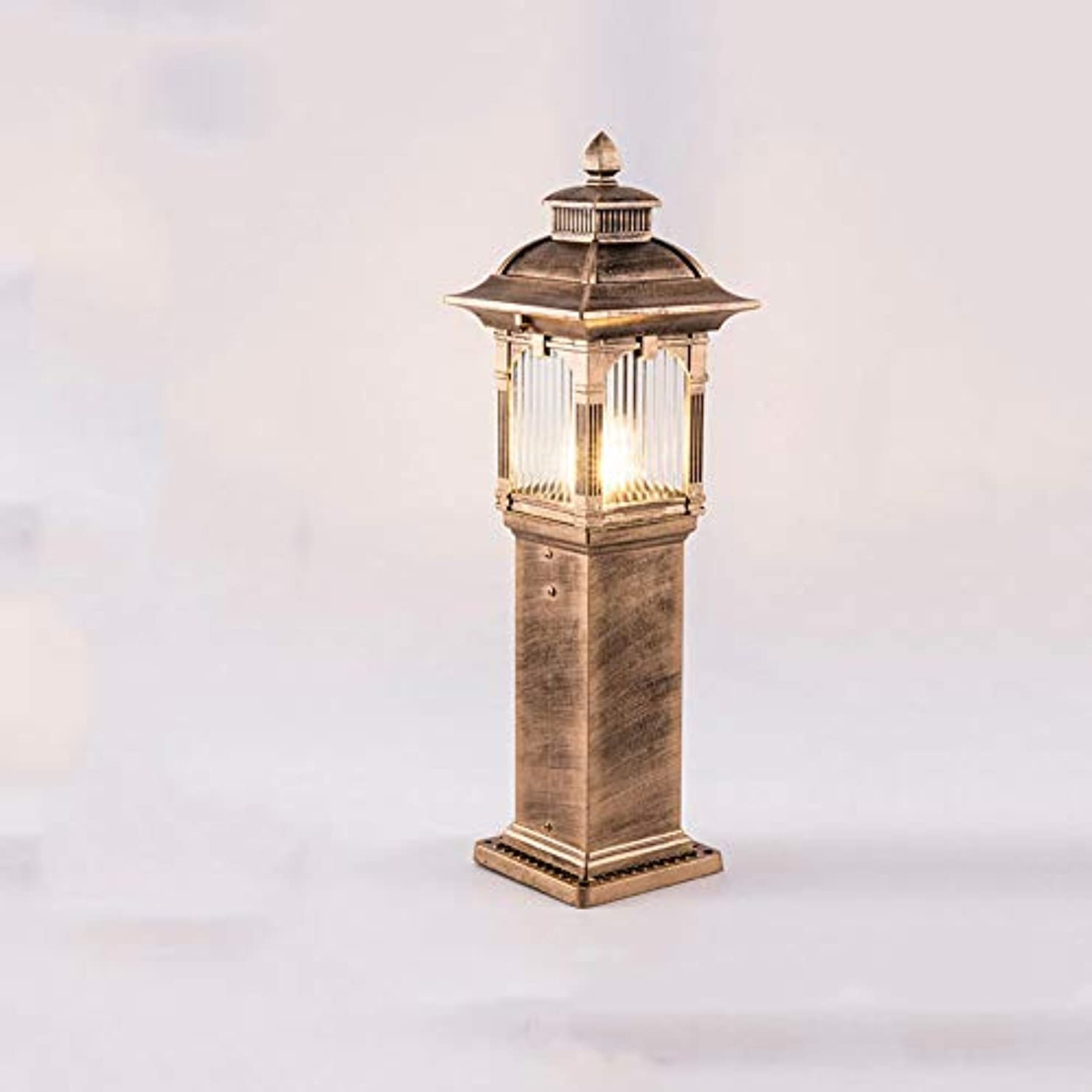 愛人ピッチヒットPinjeer E27ヨーロッパヴィンテージクリエイティブ真鍮ガラスコラムランプレトロ工業用屋外防水アルミポストライトガーデンゲートローンストリートホームヴィラ照明柱ライト (サイズ : Height 62cm)