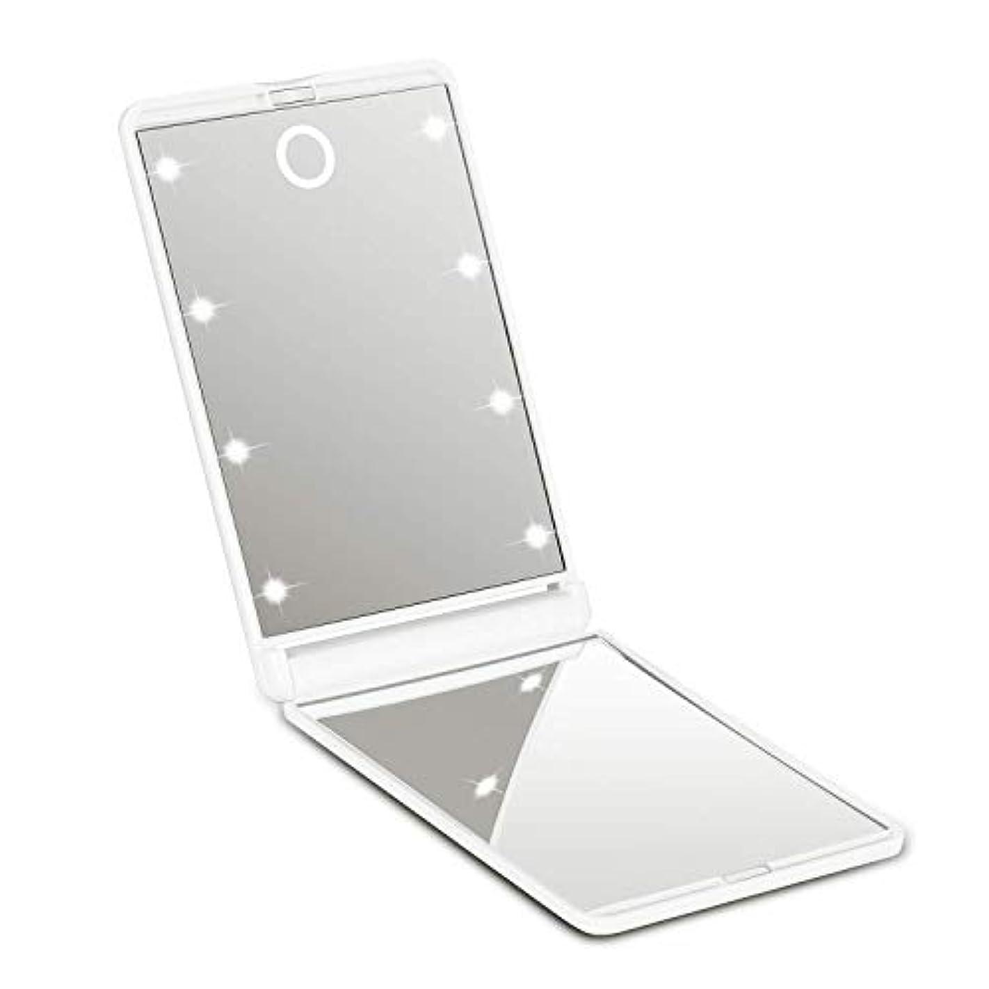 甘味提供劇場?化粧鏡 ledミラー 8灯 携帯型 持ち運び便利 折りたたみ式 コンパクト 化粧ミラー 女優ミラー 拡大鏡付き手鏡 可能なスタンドミラー2倍拡大鏡付 明るさ調節可能