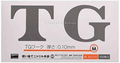 TRUSCO(トラスコ) 使い捨てニトリル手袋TGワーク 0.10 粉無オレンジM TGNN10OM