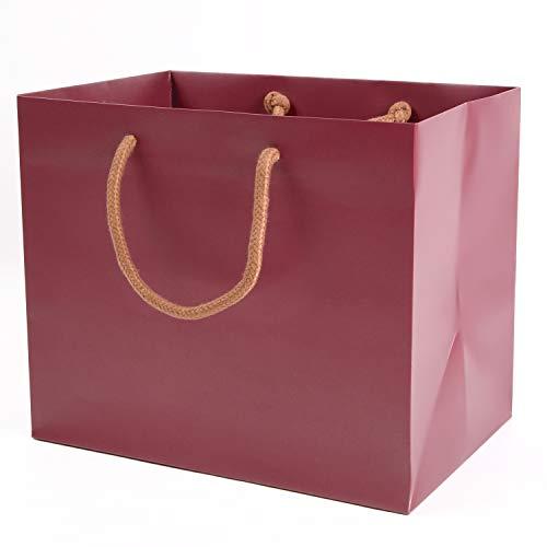 みこと 引き出物袋 結婚式 手提げ紙袋 10枚セット マチ広 葡萄色 (中)