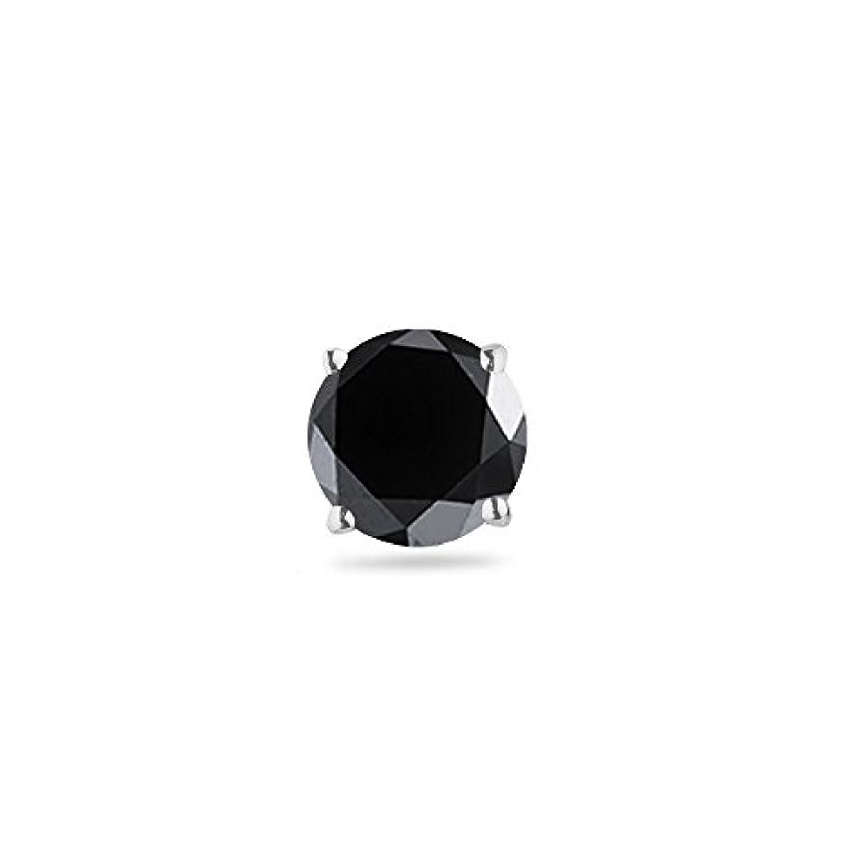 グリーンランド堂々たる関係3 / 4 ( 0.71 – 0.80 ) CT 5.34 MM AAラウンドブラックダイヤモンドメンズシングルstud-14 Kホワイトゴールド