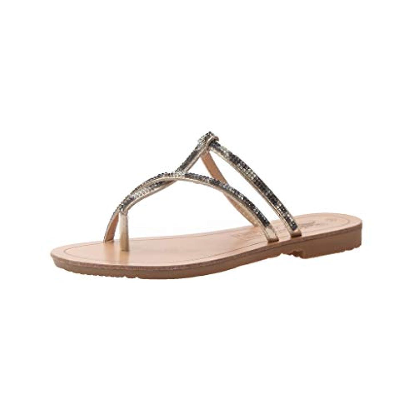 コンサルタント信頼コンサルタントExpxon Tech 夏 ラインストーンストラップ フラット 個性 ファッション靴 35-39 カジュアルシューズ 歩きやすい 日常着用 1cmヒール ローヒール ローヒール歩きやすい 美脚 アウトドア 室内履き