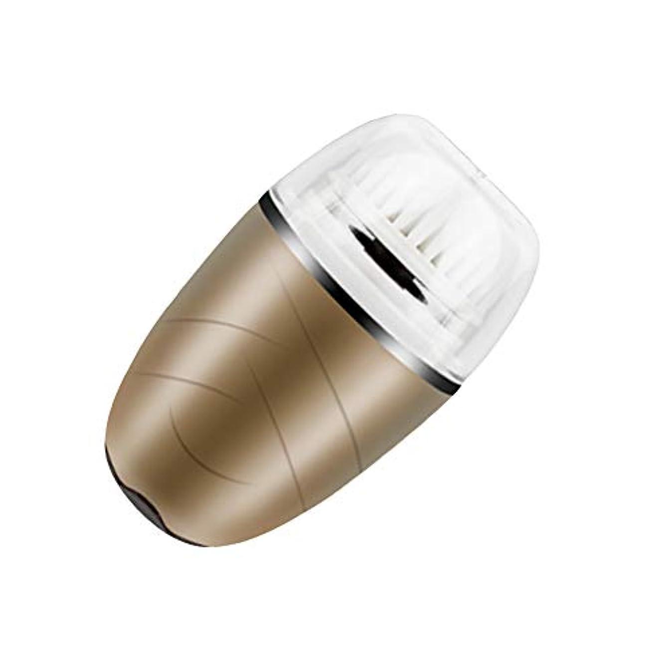 硬化するイライラする木洗顔ブラシ、電動ソニックフェイスブラシ振動顔クレンジングシステム防水ブラシにきびエクスフォリエーター USB 充電式,Gold