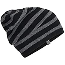 Icebreaker Merino Stripe Slouch Beanie Cold Weather Hats, One Size, Black