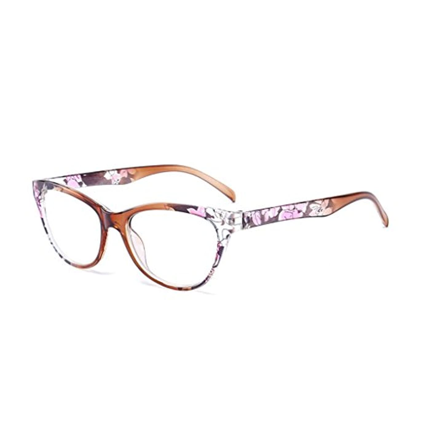 Manyao Women Cat Eye Reading Glasses Vintage Reader Fashion Flower Print +1.0-+4.0 (ブラウン, 100)