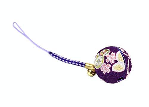 [ズーン] 花ちりめん 特大 鈴(直径25mm) 紫 和柄 ...