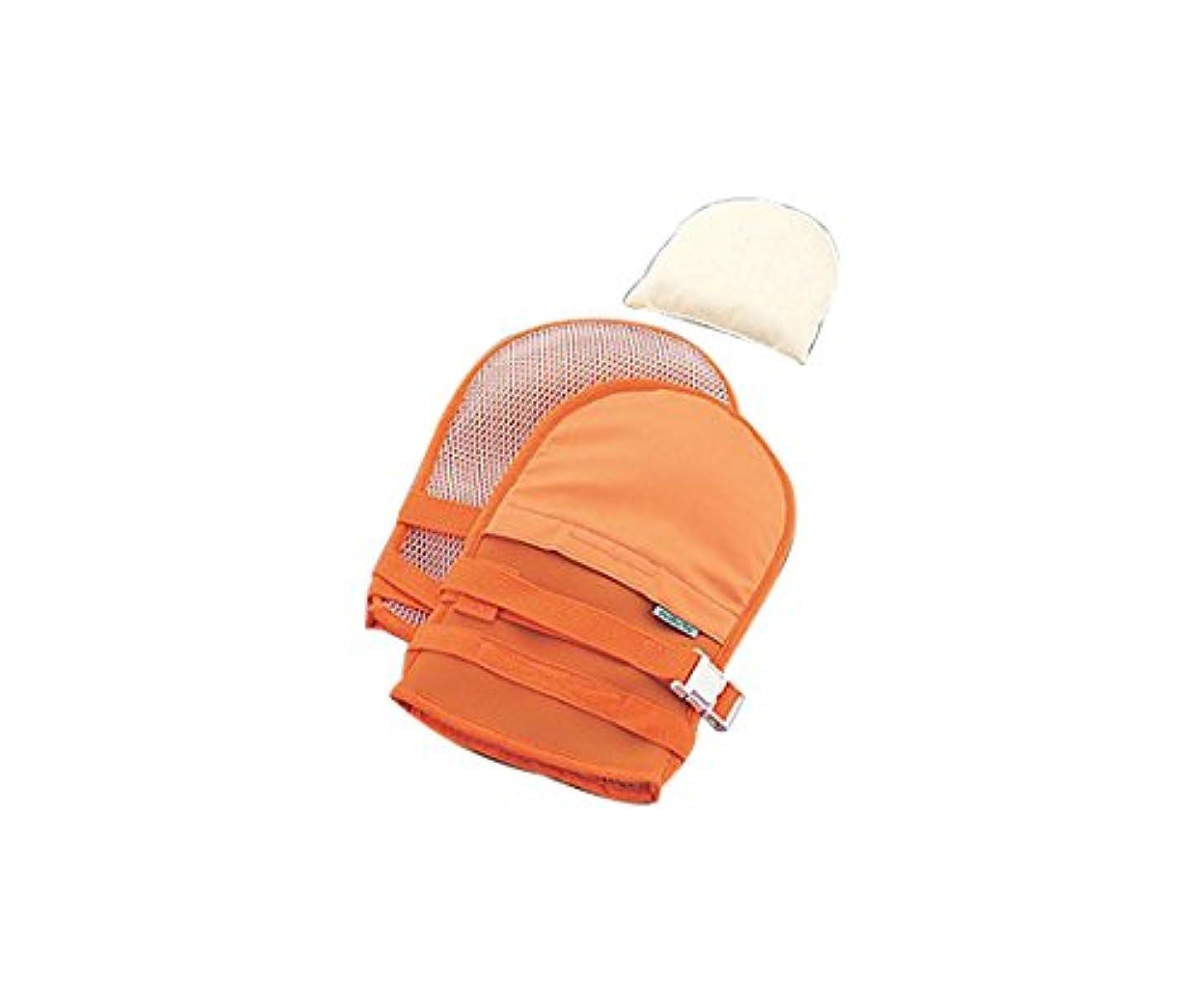 円形呼吸するブロックするナビス(アズワン)0-1638-42抜管防止手袋中メッシュオレンジ
