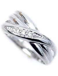 ピンキーリング k18WG 18金ホワイトゴールド 天然 ダイヤモンド リング ダイヤ リング 幅広 デザイン 18k ラッキーリング お守り 小指用 pinky 小さいサイズ 指輪 (3)