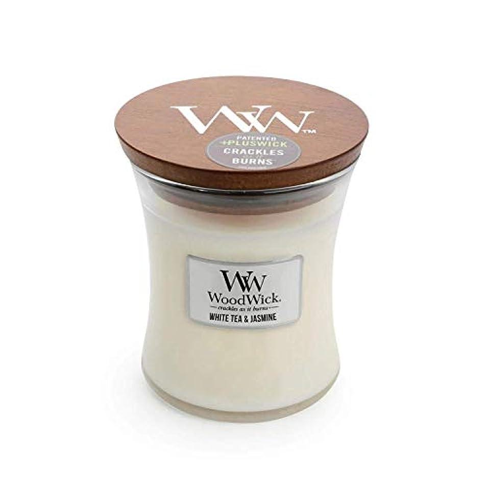 セグメントドキュメンタリー見習いホワイトTea Jasmine – WoodWick 10oz Medium Jar Candle Burns 100時間