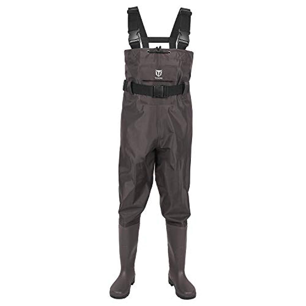 安心動物園フォーマットtidewe Bootfoot Chest Wader, 2層ナイロン/PVC防水釣り& Hunting Waders for Men and Women (グリーンとブラウン)
