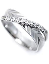 プラチナ リング 指輪 Pt900 デザインリング レディース 天然ダイヤモンド ピンキーリング ダイヤ 幅広 キラキラ カット加工 デザイン Pt ラッキーリング (5)