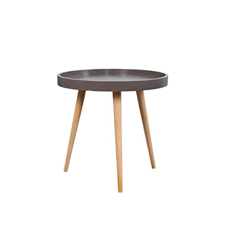 CSQ キャリーテーブル、リビング/ベッドルーム/コーヒーテーブル/創造的/幾何学的/多機能/ティーテーブル/ラウンド/木製テーブル ティーテーブル (色 : Gray, サイズ さいず : 50 * 53CM)