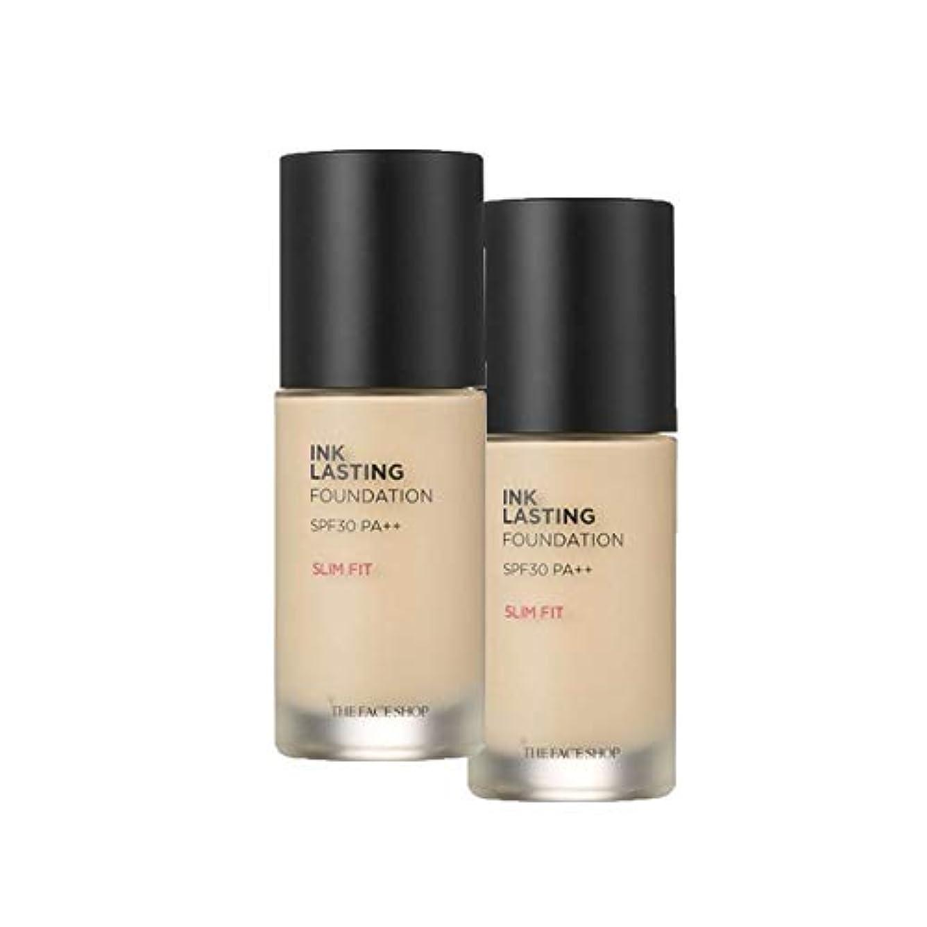 床不一致砲兵ザ?フェイスショップのインクラスティングファンデーションスリムフィット5カラー30mlx2本セット韓国コスメ、The Face Shop Ink Lasting Foundation Slim Fit 5 Colors...