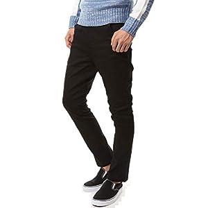 [エムシー] ストレッチ ツイル サルエルパンツ メンズ スリム テーパード パンツ 1-ブラック LLサイズ