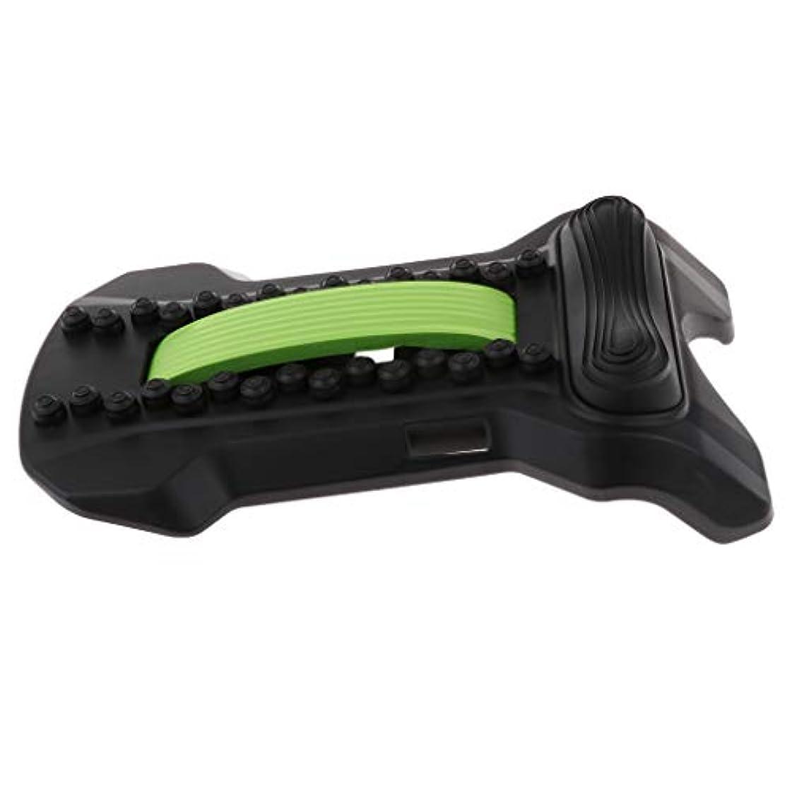 FLAMEER バックストレッチャー 腰椎 頸椎 腰痛 肩こり 解消 ツボ押し ストレッチ 姿勢 矯正 軽量 全5色 - ブラックグリーン, 22×37×8cm
