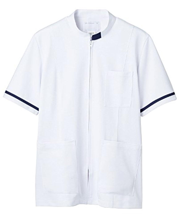 関与する信仰今晩ジャケット(メンズ?半袖) 72-858(ホワイト/ネイビー) LL 住商モンブラン 医療用