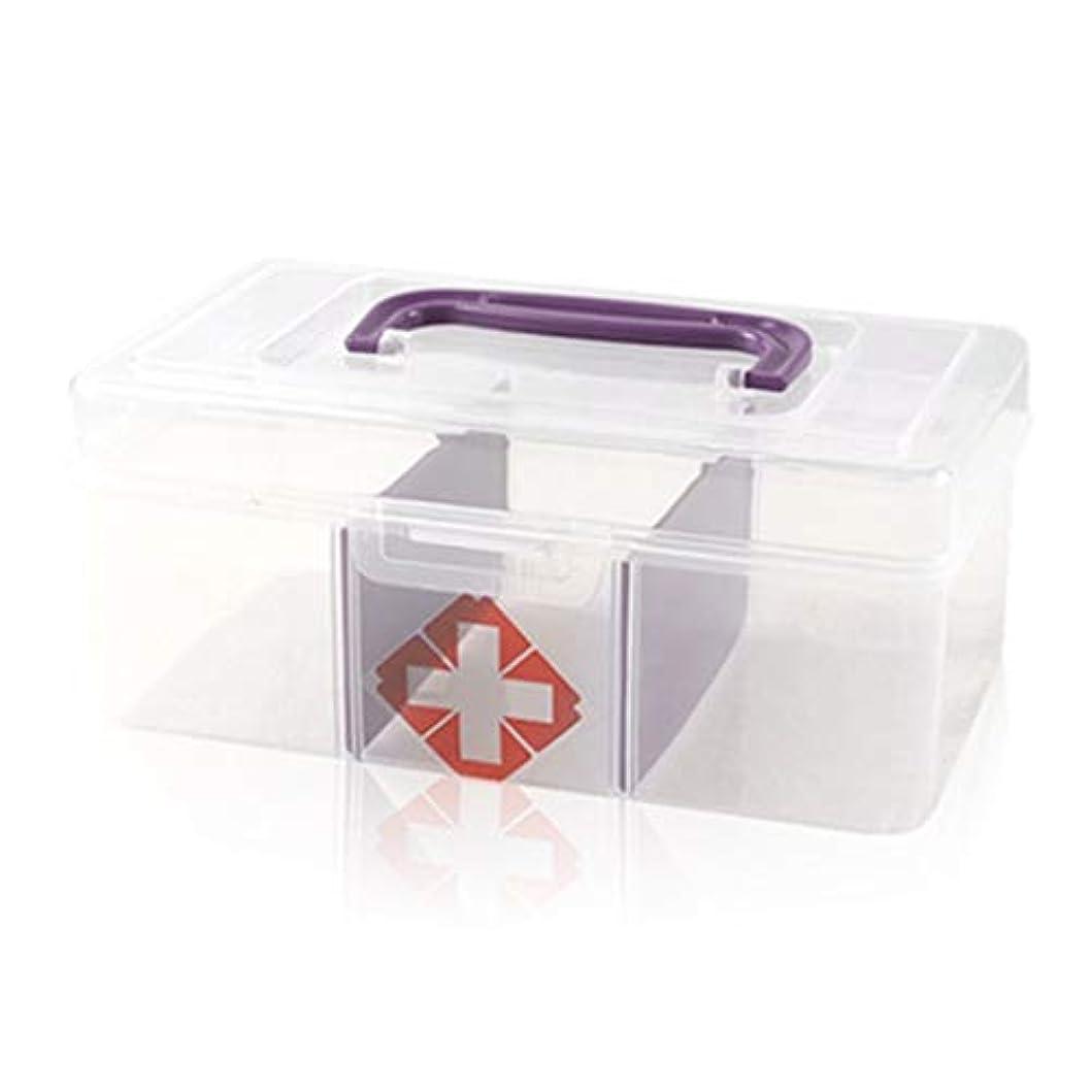 応急処置キット 透明小型応急処置キットポータブル車の小型収納箱学生寮家庭用薬収納ボックス/ 19.2 x 11 x 8.5 cm SJJOZZ (Color : Purple)