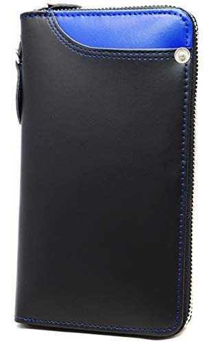368fff780fab ブラック×ブルー_1 F 長財布 メンズ ドイツ産 レザー 財布 本革 ラウンド