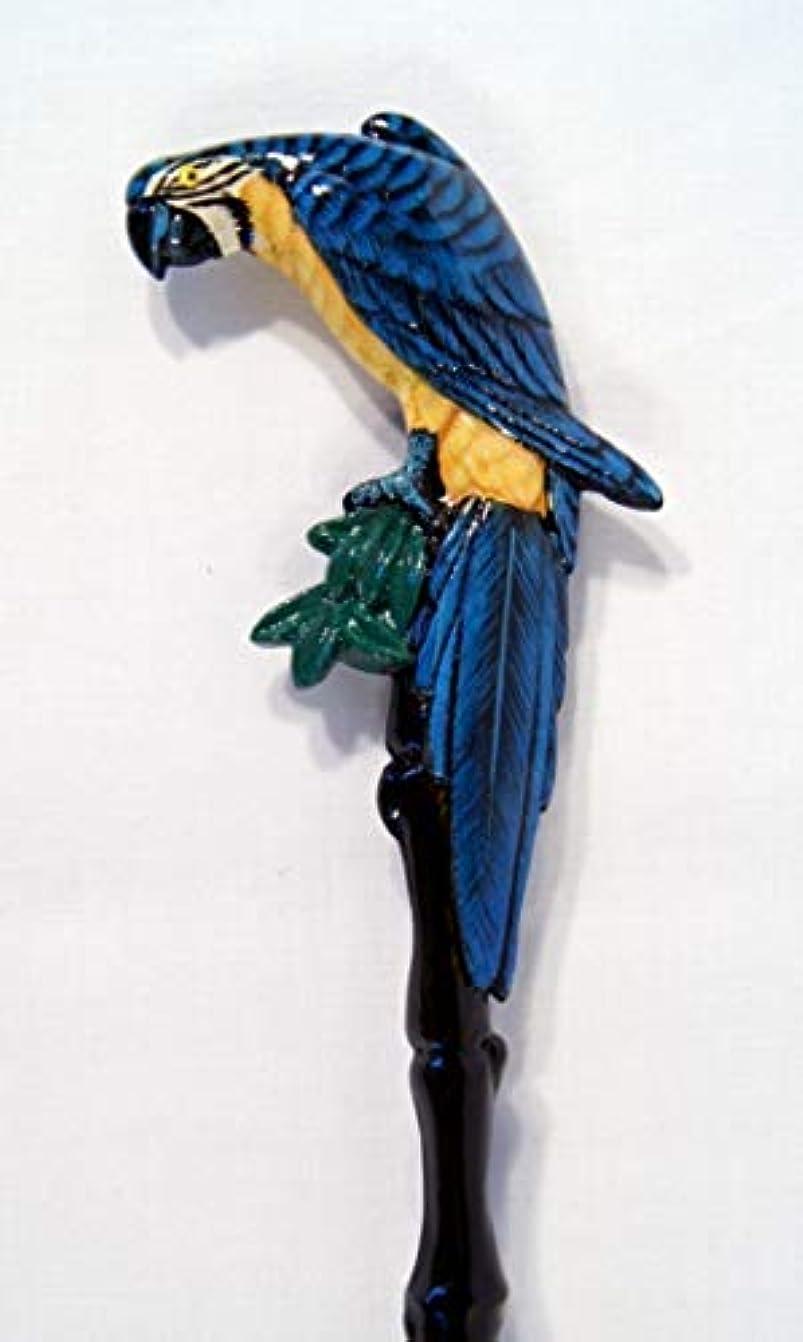 軽蔑クランプ辛なHand Painted Back Scratcher Blue Parrot Bird 18 by LX