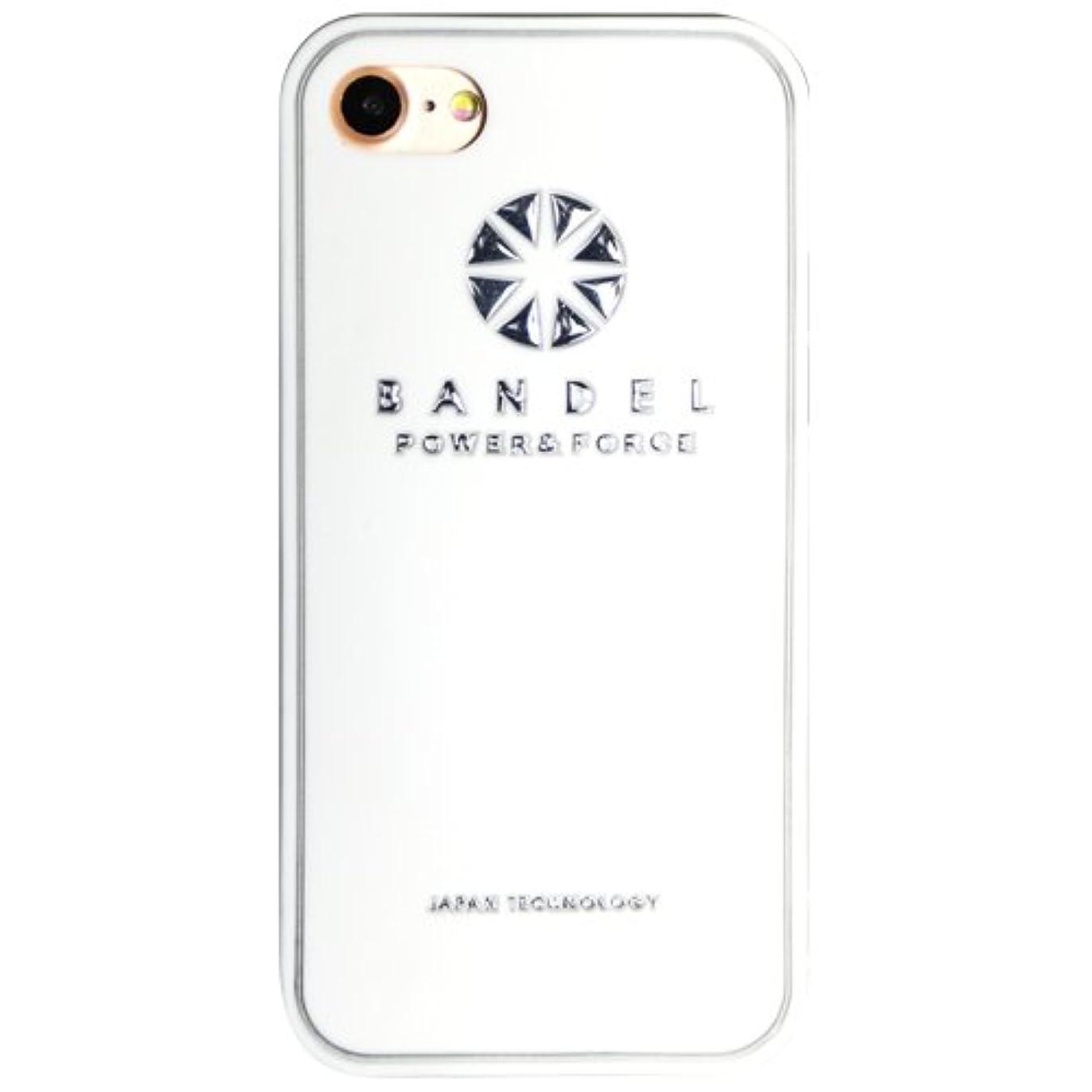 恐れ柔らかい足清めるバンデル(BANDEL) ロゴ iPhone 8専用 シリコンケース [ホワイト×シルバー]