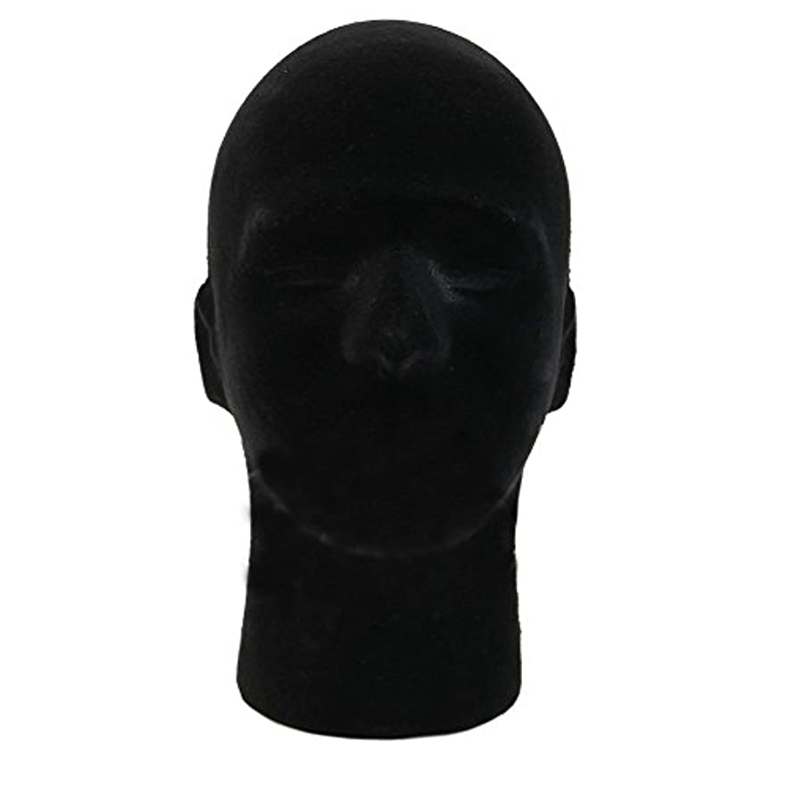 根絶する心臓地区1PC男性のかつらのかつらポータブル発泡シートの発泡マネキンヘッドかつらスタイル帽子飾りディスプレイスタンド(黒)