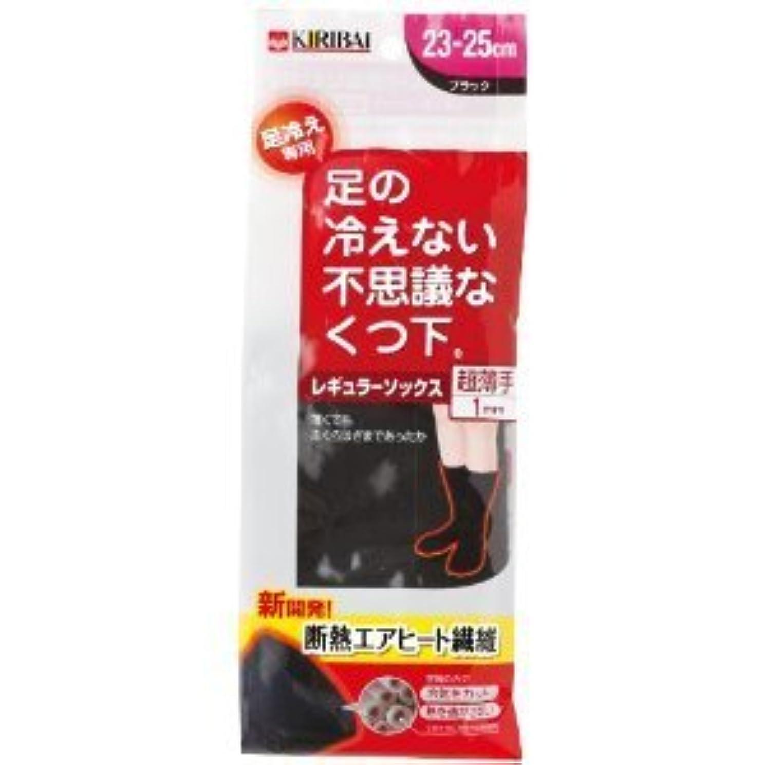頑張るおばあさんレンダー足の冷えない不思議なくつ下 レギュラーソックス 超薄手 ブラック 23-25cm×2個