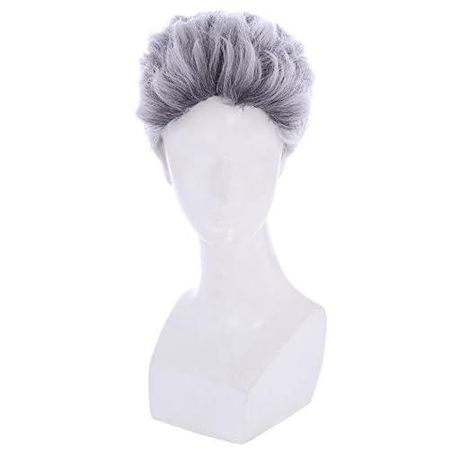 メンズ ショート 白 灰 ウィッグ かつら コスプレ モデル 男性 ZY191