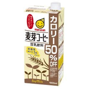 マルサン 豆乳飲料 麦芽コーヒー カロリー50%オフ 1L ×6本