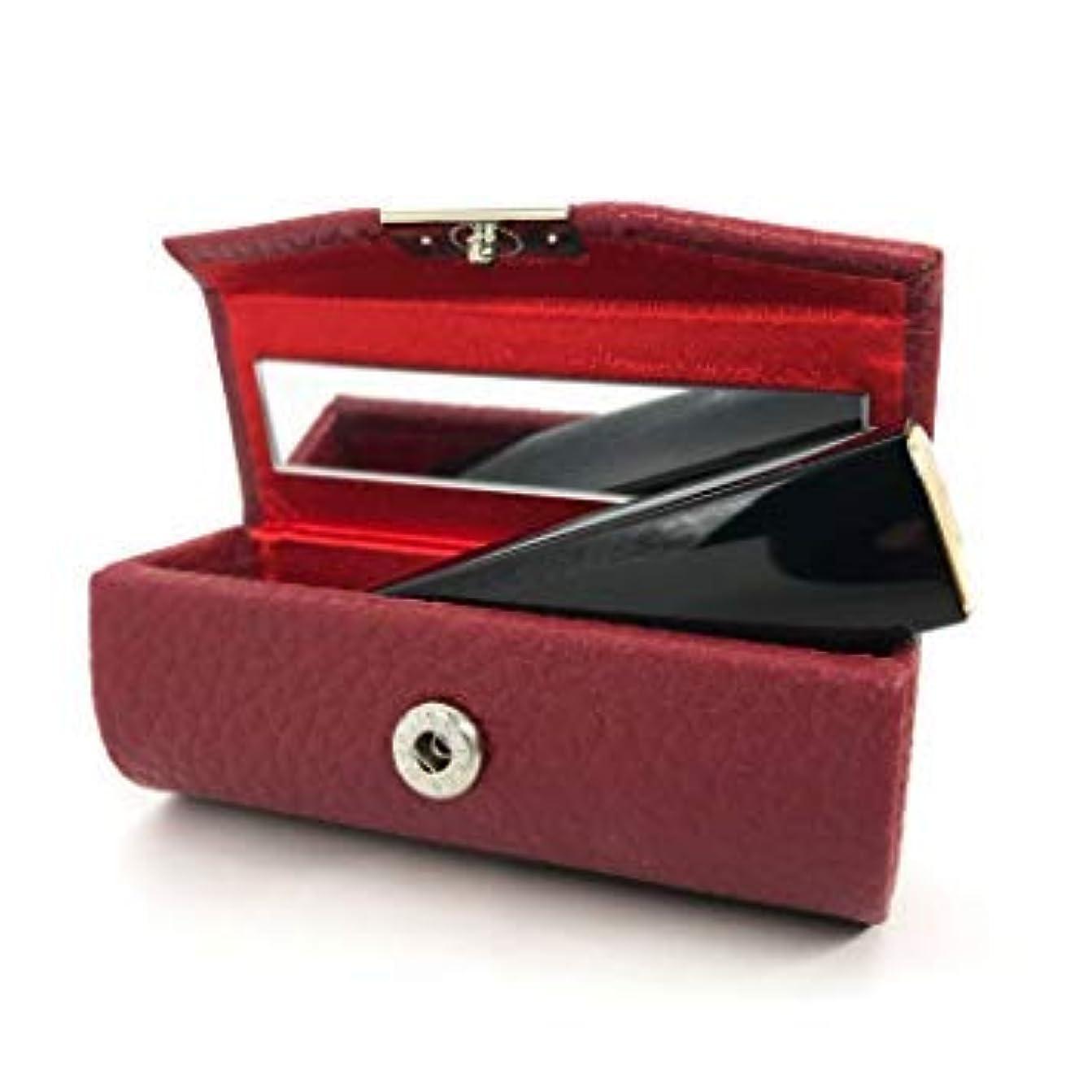 ユーモア路面電車木口紅ホルダー 収納ボックス リップスティックケース レザー ミラー付き